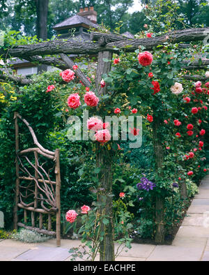 garden with roses and slate pathways - Stock Photo