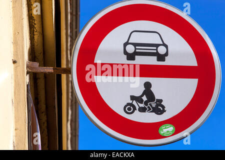 Road sign showing no entry for cars or motorcycles Czech - Stock Photo
