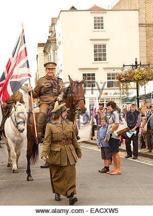 Solider riding horse in world war 1 reenactment day Abingdon - Stock Photo