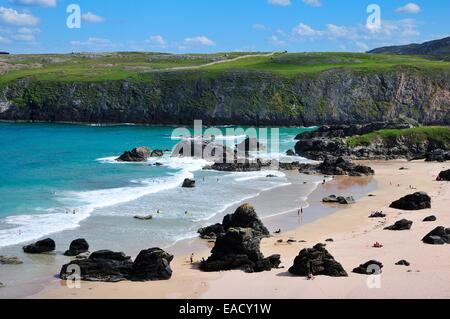 Beach of Sango Bay, Durness, Caithness, Sutherland and Easter Ross, Scotland, United Kingdom - Stock Photo