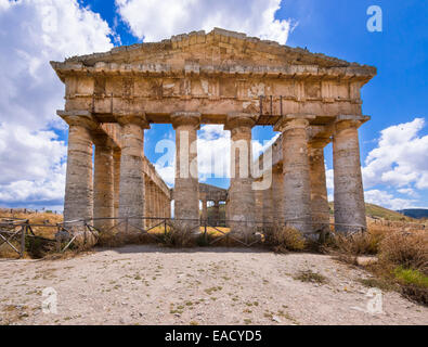 Doric temple of the Elymians of Segesta, Province of Trapani, Sicily, Italy - Stock Photo