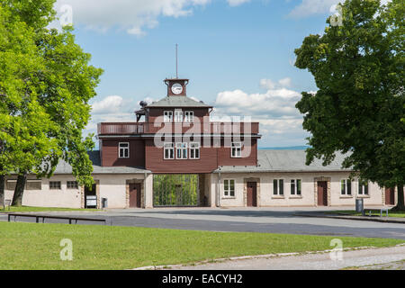 Gate building with watchtower, gate restored in 2014 to original colors, Buchenwald concentration camp, Weimar, - Stock Photo