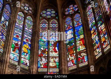 Medieval Gothic stained glass window showing scenes from the Martyrdom of Saint Denis, Cathedral Basilica of Saint - Stock Photo