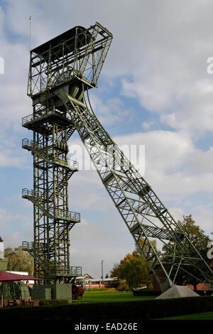 Shaft tower, disused coal mine, Zollern II/IV Colliery, Boevinghausen, Dortmund, North Rhine-Westphalia, Germany - Stock Photo