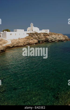Monastery Chrisopigi most beautiful and famous landscape of the island: - Stock Photo