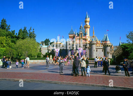 Visitors flock to the Sleeping Beauty Castle in Disneyland, Los Angeles, California - Stock Photo