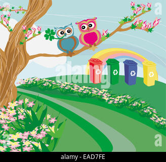Recycling bins in spring scenery - Stock Photo