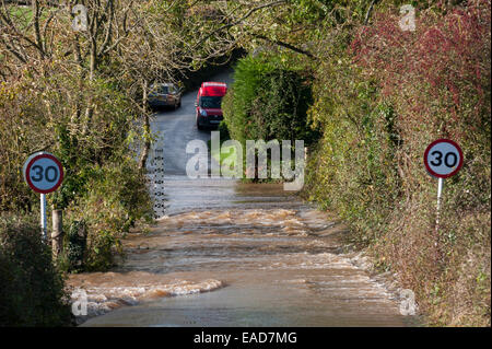 Exeter, UK. 12th Nov, 2014. Flooding near Rewe, Exeter, Devon, UK, where the River Culm burst its banks following - Stock Photo