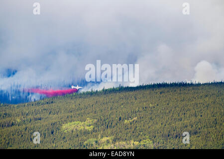 P3 aircraft dumps retardant to suppress the Hastings wildland forest fire near Murphy Dome, North of Fairbanks; - Stock Photo