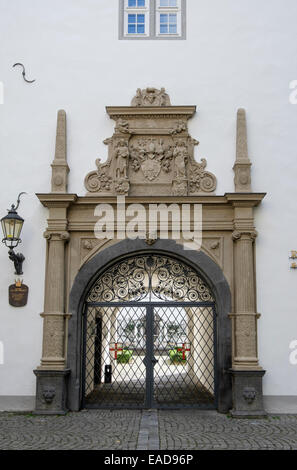 Ornate gateway to a courtyard in the Rathaus Town Hall from Willi-Horter Platz, Koblenz, Rhineland-Palatinate, Germany, - Stock Photo
