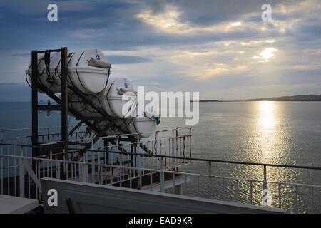 Zodiac Liferaft deployment slide on car ferry - Stock Photo