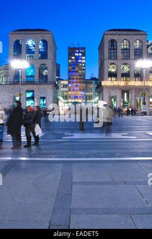 Italy, Lombardy, Milan, Duomo Square, Twentieth Century Museum, Museo del Novecento at Dusk - Stock Photo