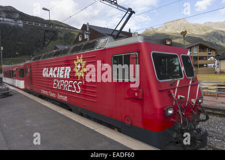 train station glacier express train zermatt valais switzerland stock photo royalty free image. Black Bedroom Furniture Sets. Home Design Ideas