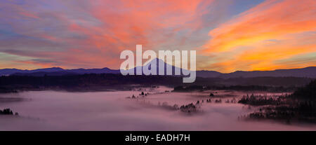 Pre Sunrise Over Mount Hood with Fog Over Sandy River from Jonsrud Viewpoint in Oregon Panorama - Stock Photo