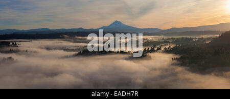 Sunrise over Mount Hood and Foggy Sandy River in Oregon Panorama - Stock Photo