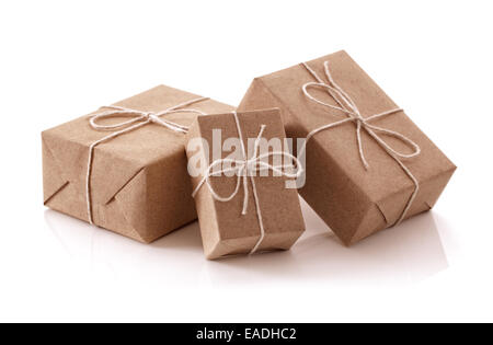 Brown recycled paper gift parcels - Stock Photo