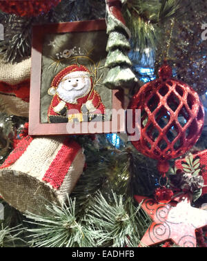 Old Fashioned Christmas Decorations old fashioned christmas tree decorations - crackers stock photo