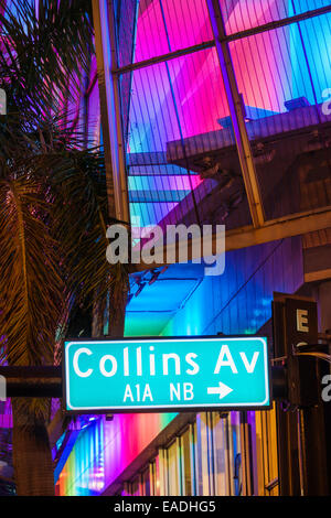Miami Beach Florida Art Deco District Collins Avenue dusk evening night sign - Stock Photo