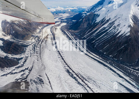 Aerial of the Muldrow glacier winding out from Mount McKinley, Interior Alaska - Stock Photo