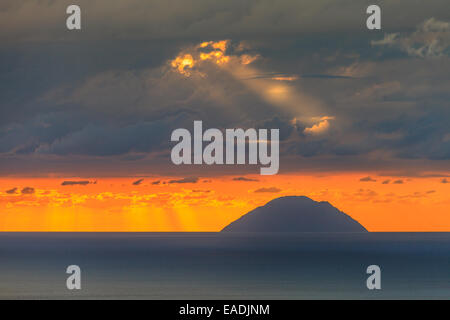 View of Aeolian islands of Alicudi  at sunset - Stock Photo