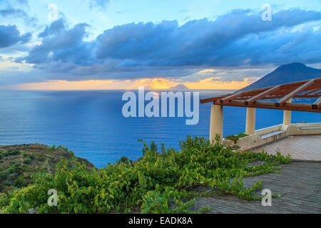 Aeolian house with a beautiful sea view - Stock Photo