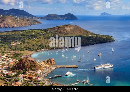 Panoramic view of the Aeolian islands from Vulcano - Stock Photo