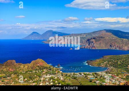 Panoramic view of the Aeolian islands Lipari, Salina from  Vulcano - Stock Photo
