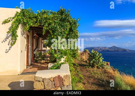 Aeolian house with a beautiful sea view - Stock Photo