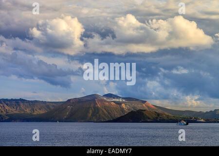 View on Vulcano Island from Lipari - Stock Photo