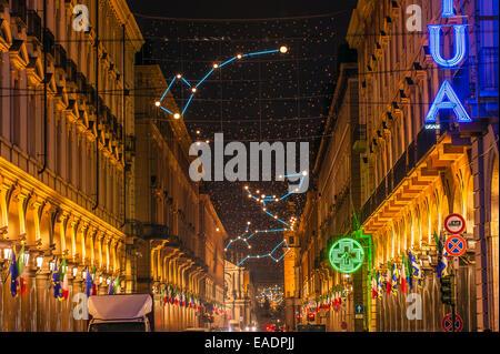Turin, Italy. 12th Nov, 2014. Italy Piedmont Turin 'Luci d'Artista 'In Via Roma - Planetario By Carmelo Giammello - Stock Photo