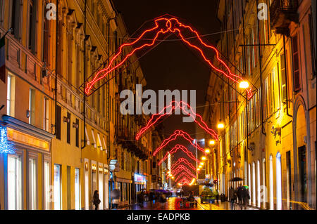 Turin, Italy. 12th Nov, 2014. Italy Piedmont Turin ' Luci 'Artista' in via Lagrange - Noi -  by Luigi Stoisa Credit: - Stock Photo