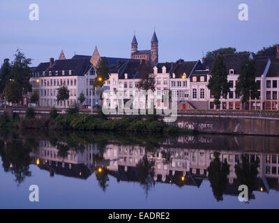 Maastricht skyline reflected on the Maas river, The Netherlands, Europe - Stock Photo