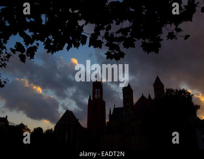 Silhouetted view of the St. John's cathedral and the Basilica of Saint Servatius in Maastricht, The Netherlands - Stock Photo