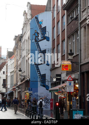 Mural with Tintin and Captain Haddock  cartoon drawings on a building in Brussels, Belgium, Europe - Stock Photo