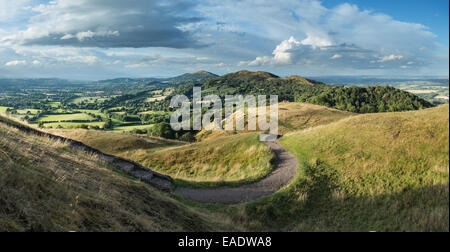 A footpath leading from British Camp part of the Malvern Hills in Herefordshire and Worcestershire. - Stock Photo