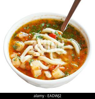 lagman soup in white bowl isolated on white background - Stock Photo