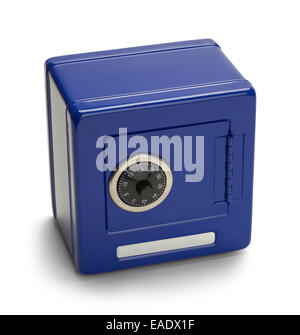 Closed Blue Metal Safe with Combination Lock Isolated on White Background. - Stock Photo