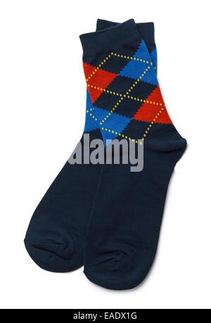 Pair of Blue Socks Isolated on White Background. - Stock Photo