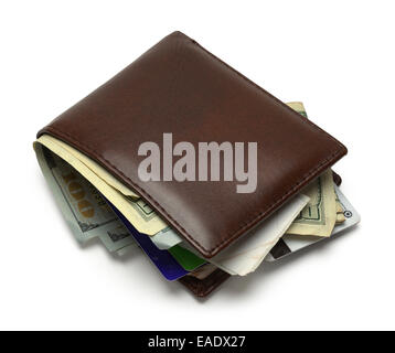 Brown Wallet Full and Messy Isolated on White Background. - Stock Photo