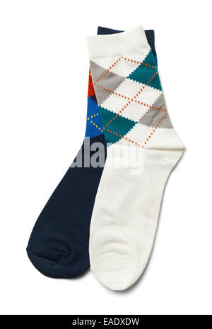 Pair of Mismatched Blue and White Socks Isolated on White Background. - Stock Photo