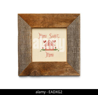 Home Sweet Home Cross Stitch in Square Wood Frame Isolated on White Background. - Stock Photo