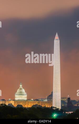 Washington Monument and Capitol in Washington DC. - Stock Photo