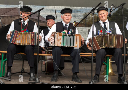 Three old men playing accordion at traditional Lithuanian Song Celebration in Vilnius, Lithuania - Stock Photo