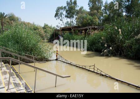 River entry area steps, Jordan River Baptismal Site, Galilee Region, Galilee, Israel, Middle East. - Stock Photo