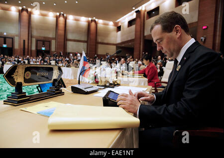 Nay Pyi Taw, Myanmar. 13th Nov, 2014. Russia's prime minister Dmitry Medvedev looks on at the 9th East Asia Summit. - Stock Photo
