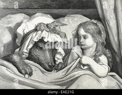 Charles Perrault (1628-1703). French writer. Little Red Riding Hood astonished to see how her grandmother looks. - Stock Photo