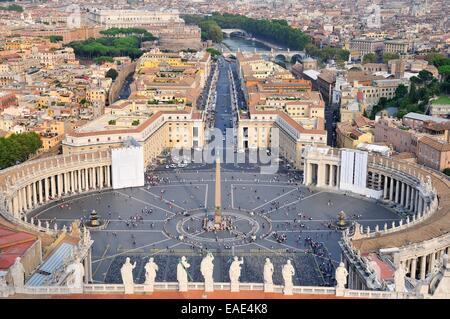 View over St. Peter's Square from the dome of St. Peter's Basilica, Vatican, Rome, Lazio, Italy - Stock Photo