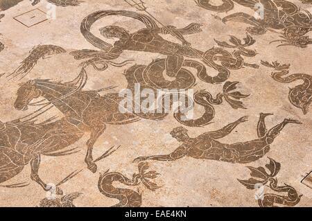 Roman mosaic in the Neptune Therme, Terme di Nettuno, Ostia Antica, Rome, Lazio, Italy - Stock Photo