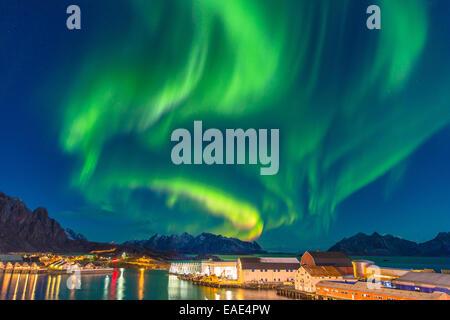 aurora over Lofot islands - Stock Photo