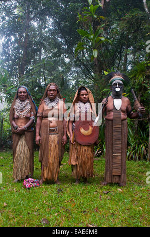 Tribal chief and three women wearing traditional dresses, Highlands Region, Papua New Guinea - Stock Photo